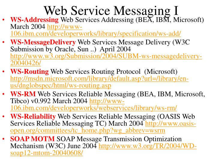Web Service Messaging I
