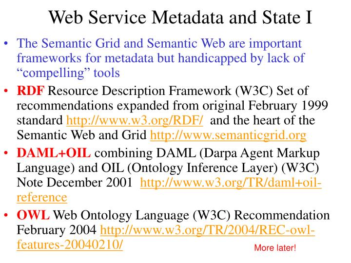 Web Service Metadata and State I