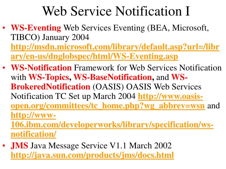 Web Service Notification I