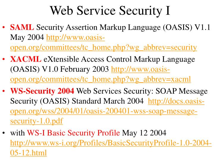Web Service Security I
