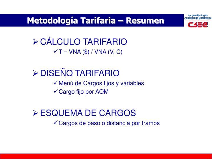 Metodología Tarifaria – Resumen