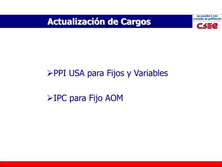 PPI USA para Fijos y Variables