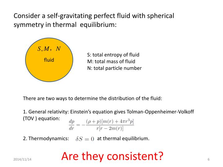 Consider a self-gravitating perfect fluid with spherical symmetry in thermal  equilibrium: