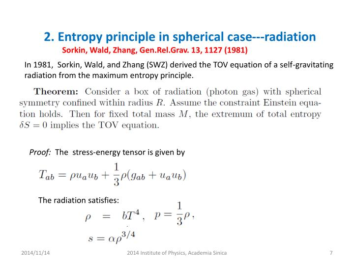 2. Entropy principle in spherical case---radiation