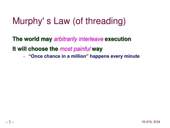 Murphy' s Law (of threading)