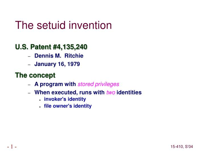 The setuid invention