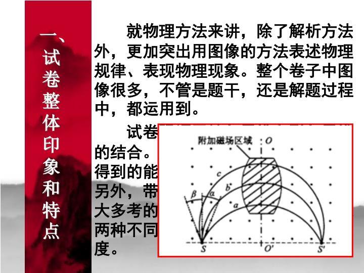 就物理方法来讲,除了解析方法外,更加突出用图像的方法表述物理规律、表现物理现象。整个卷子中图像很多,不管是题干,还是解题过程中,都运用到。