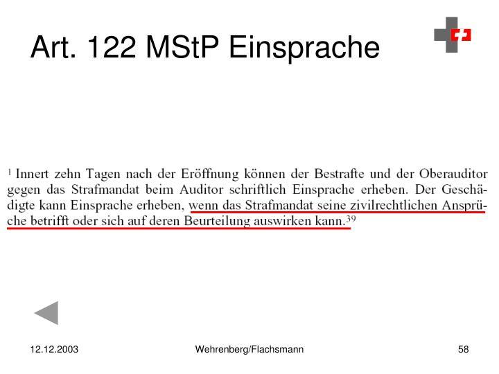 Art. 122 MStP Einsprache