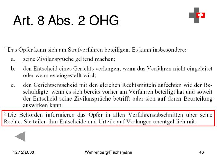 Art. 8 Abs. 2 OHG