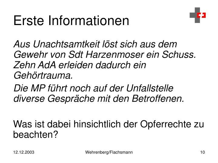 Erste Informationen