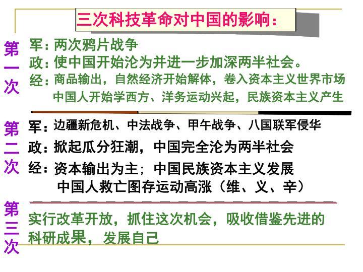 三次科技革命对中国的影响: