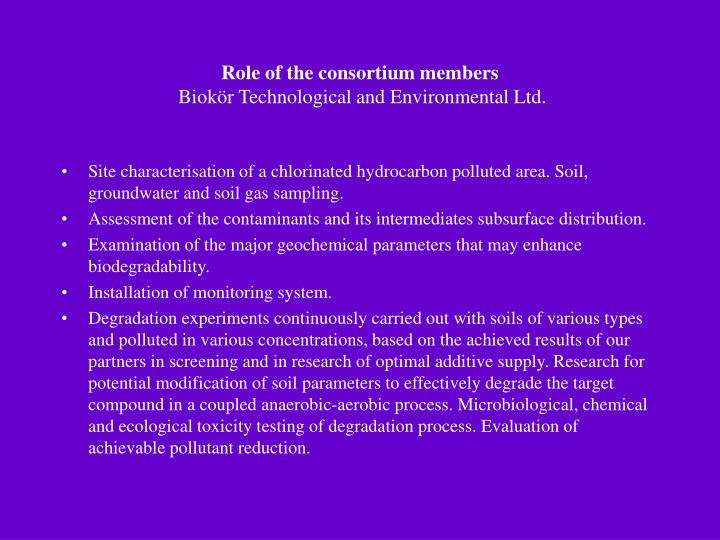 Role of the consortium members