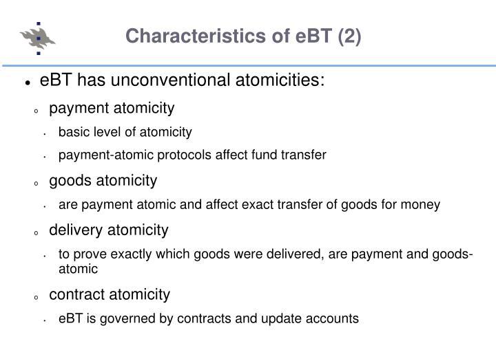 Characteristics of eBT (2)