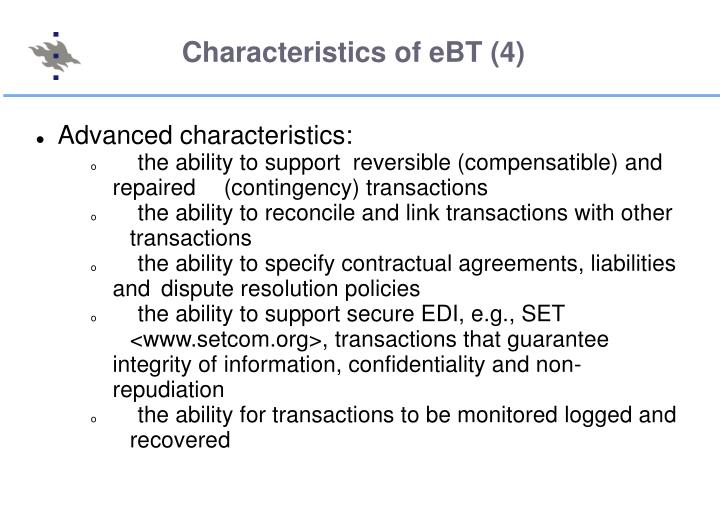 Characteristics of eBT (4)