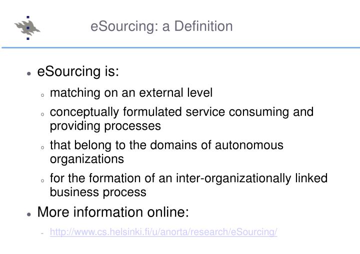 eSourcing: a Definition
