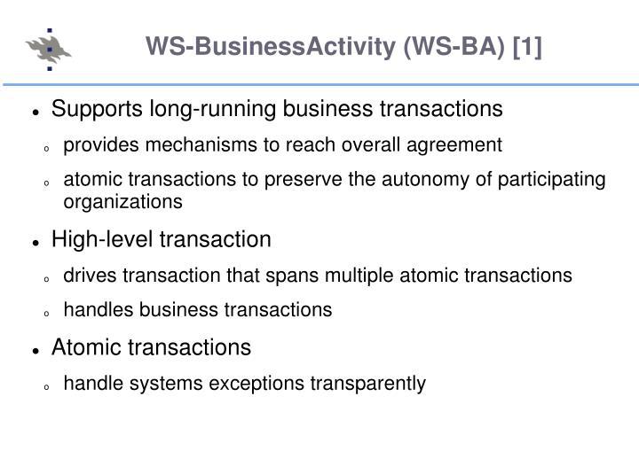 WS-BusinessActivity (WS-BA) [1]