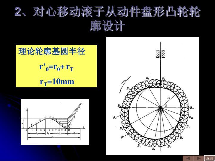 2、对心移动滚子从动件盘形凸轮轮廓设计