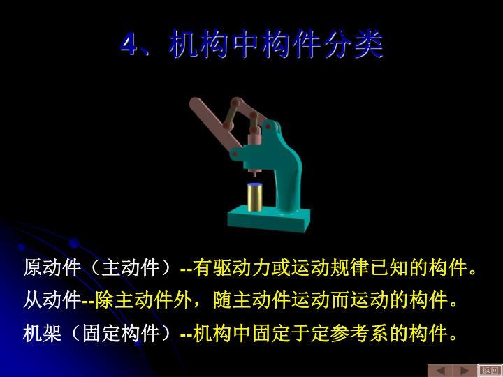 4、机构中构件分类