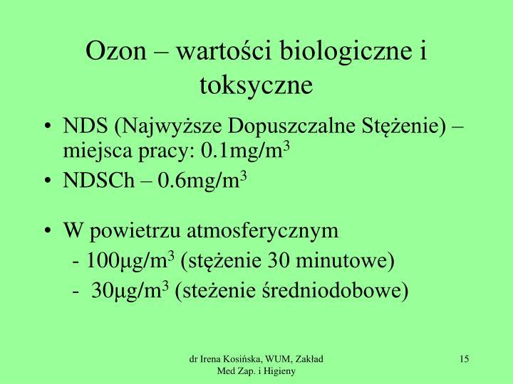 Ozon – wartości biologiczne i toksyczne