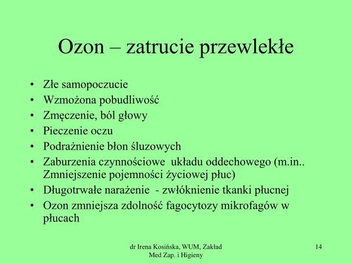 Ozon – zatrucie przewlekłe