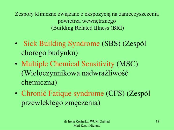 Zespoły kliniczne związane z ekspozycją na zanieczyszczenia powietrza wewnętrznego