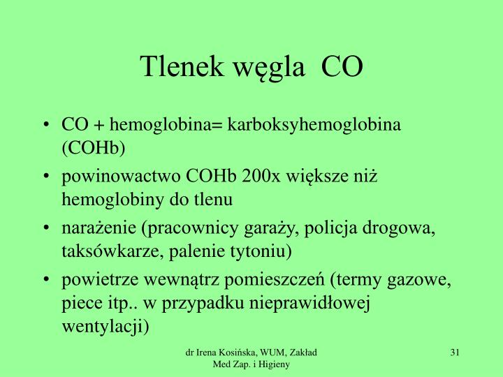 Tlenek węgla  CO