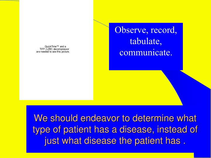 We should endeavor to determine what type of patient has a disease, instead of just what disease the patient has .