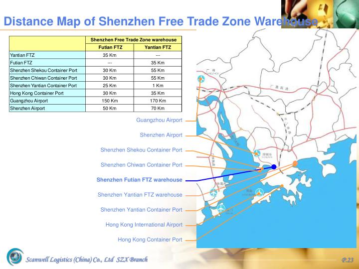Distance Map of Shenzhen Free Trade Zone Warehouse