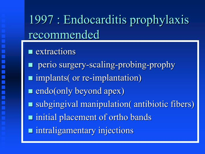 1997 : Endocarditis prophylaxis recommended