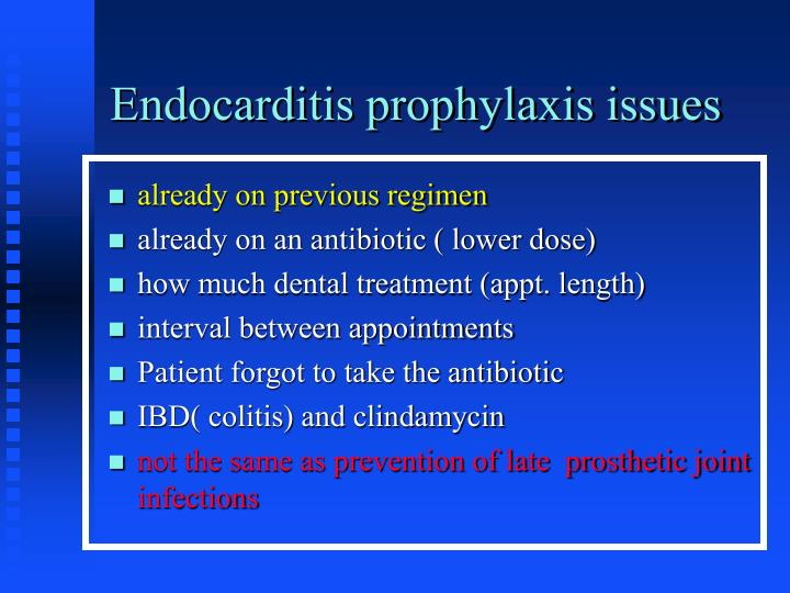 Endocarditis prophylaxis issues