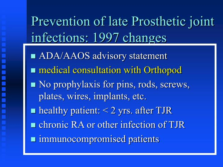 Prevention of late Prosthetic joint infections: 1997 changes