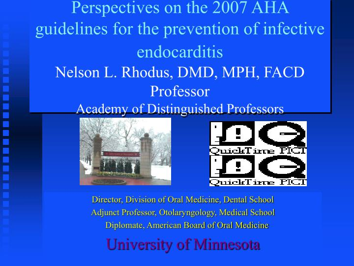 Perspectives on the 2007 AHA guidelines for the prevention of infective endocarditis