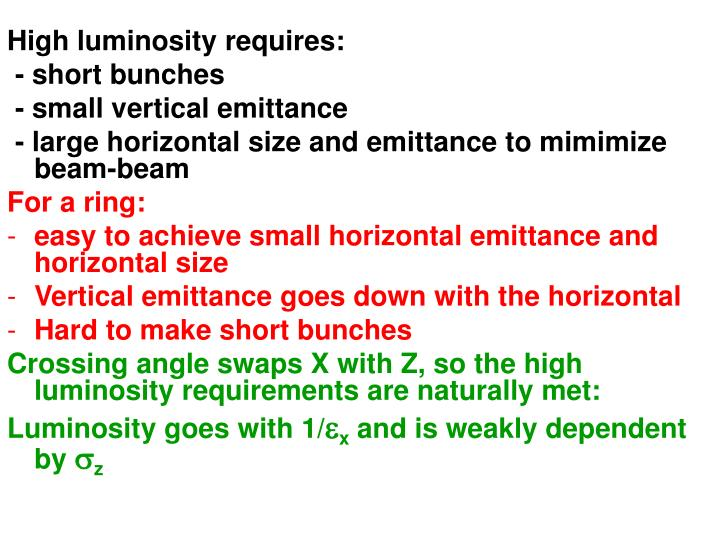 High luminosity requires: