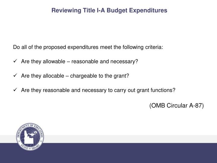 Reviewing Title I-A Budget Expenditures