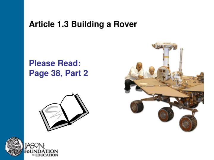 Article 1.3 Building a Rover