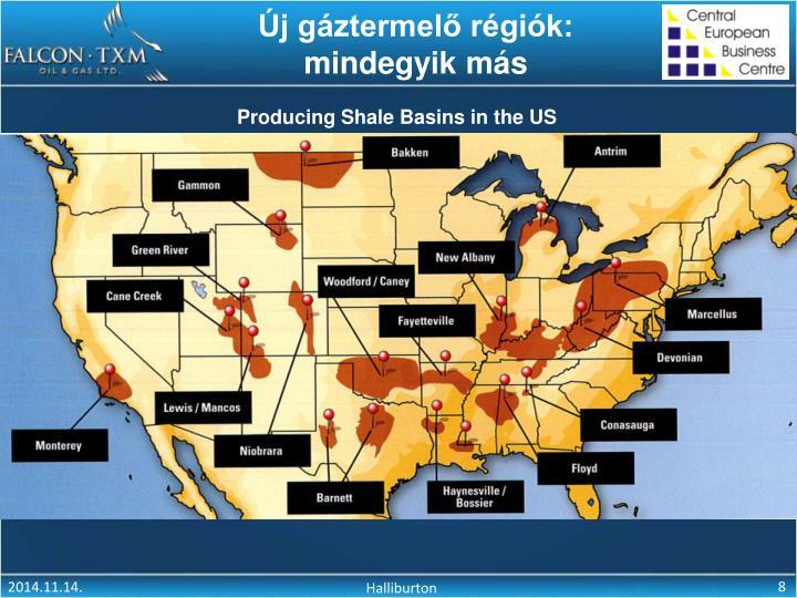 Új gáztermelő régiók: