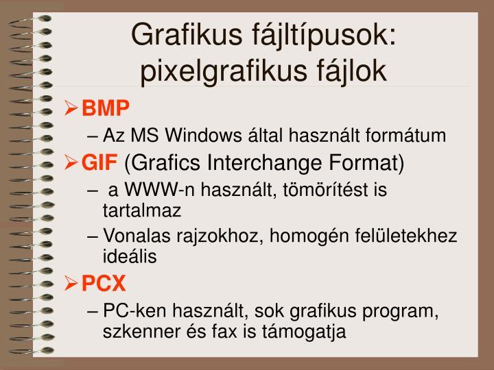 Grafikus fájltípusok: pixelgrafikus fájlok
