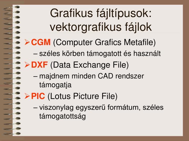 Grafikus fájltípusok: