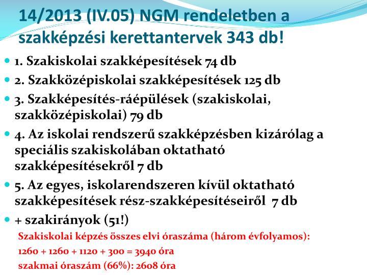 14/2013 (IV.05) NGM rendeletben a szakképzési kerettantervek 343 db!