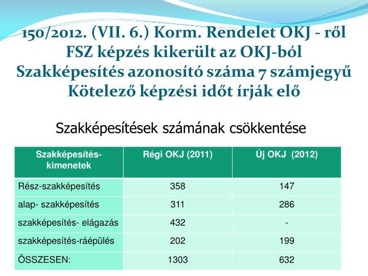 150/2012. (VII. 6.) Korm. Rendelet OKJ -