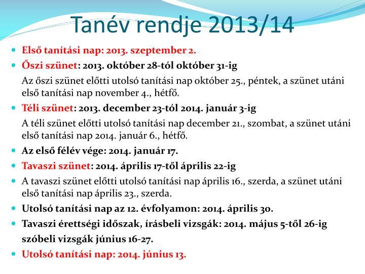 Tanév rendje 2013/14