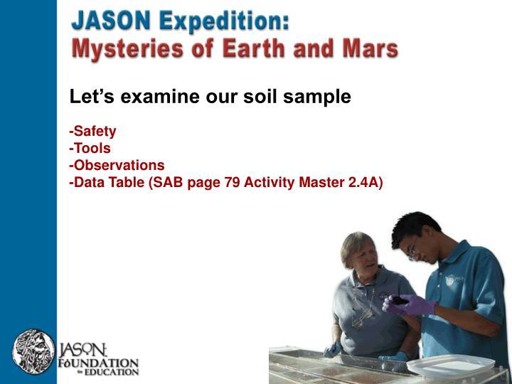 Let's examine our soil sample