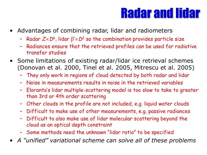 Radar and lidar