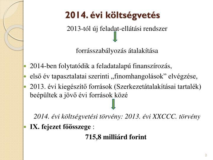 2014. évi költségvetés