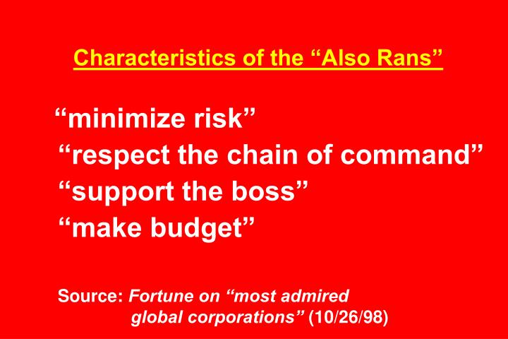 """Characteristics of the """"Also Rans"""""""