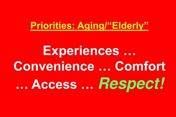 """Priorities: Aging/""""Elderly"""""""