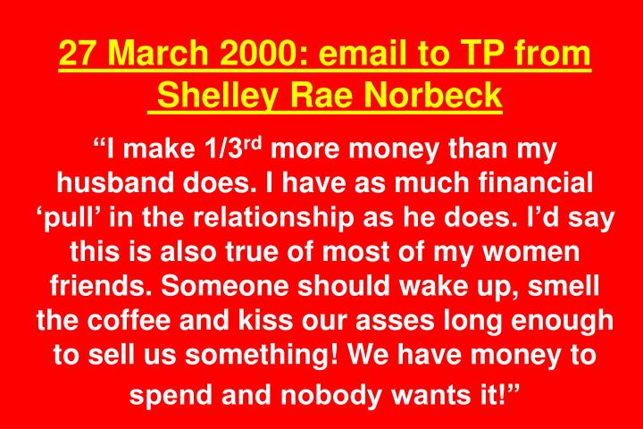 27 March 2000: email to TP from