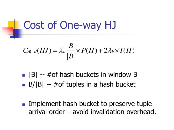 Cost of One-way HJ