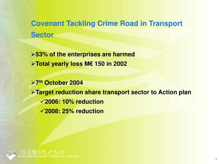 Covenant Tackling Crime Road in Transport Sector