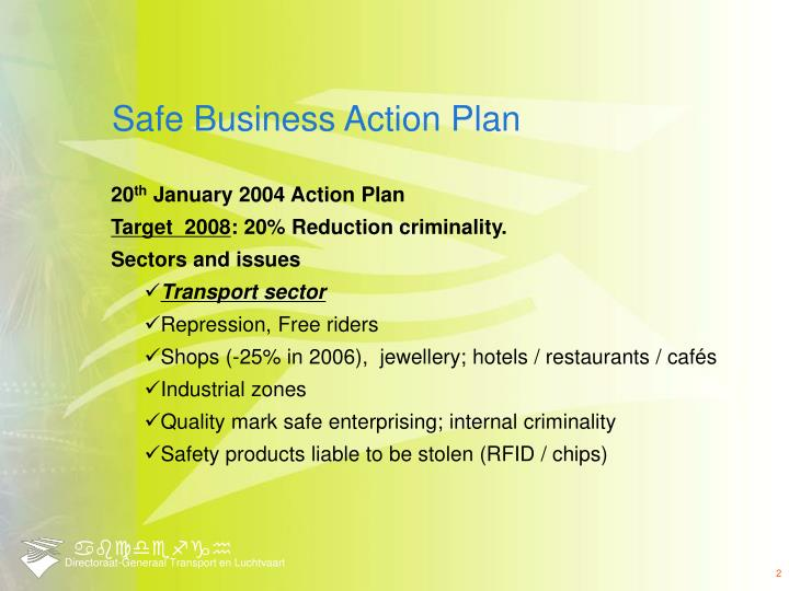 Safe business action plan